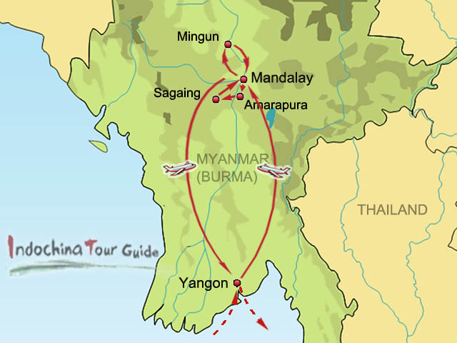 4 Days Yangon Mandalay Circling Tour