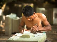 Stonecutter In Angkor Wat